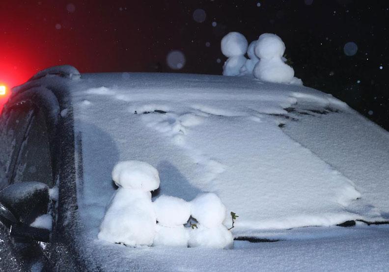 陽明山下雪了! 雪人、寵物造型都吸睛