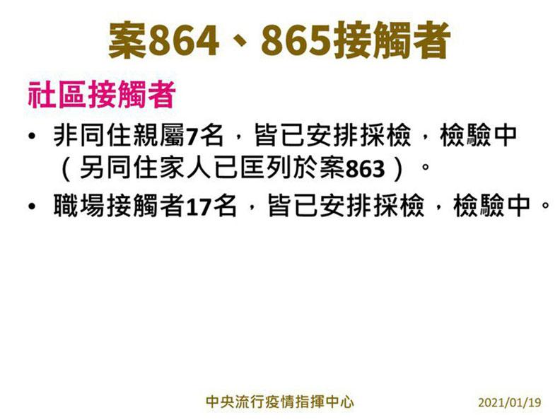 案八六四和案八六五的接觸者。指揮中心提供