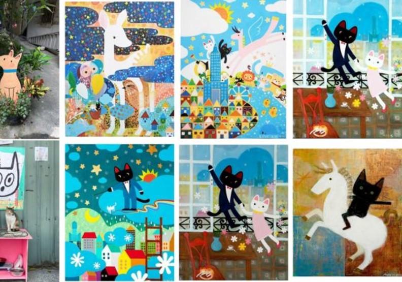 馬里斯曾創作許多具有動物元素的溫暖畫作。(照片來源:謝錫元)