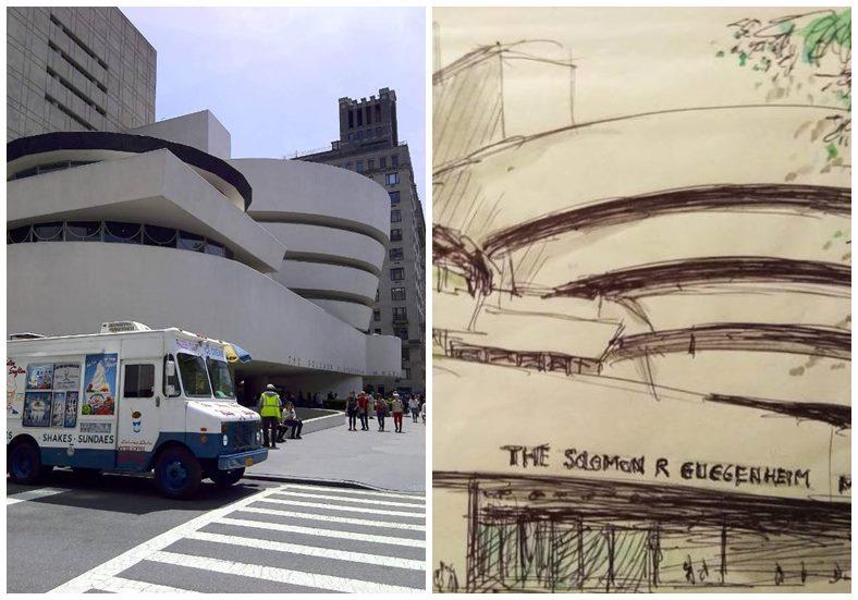 紐約古根漢美術館,左為實景照,右為作者提供素描。