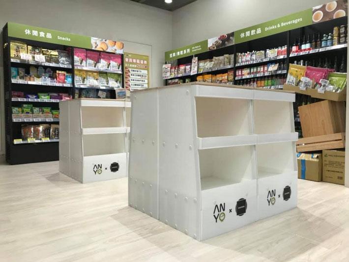 奇夢籽社計以再生塑料製作商品展架。圖片取自Huemon 粉絲專頁