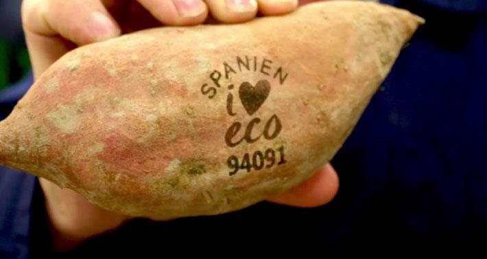 瑞典連鎖超市 ICA 與荷蘭蔬果供應商 Nature & More 攜手,以雷射的方式取代蔬果上的標籤貼紙。圖片取自Nature & More