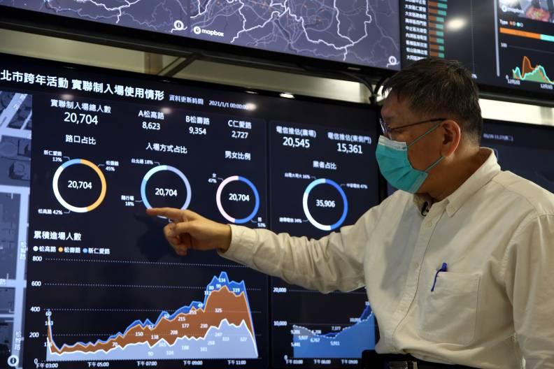 台北市跨年晚會嚴格防疫,採行實名制,須出示身分證或下載台北通登入,才可以快速通關。陳之俊攝