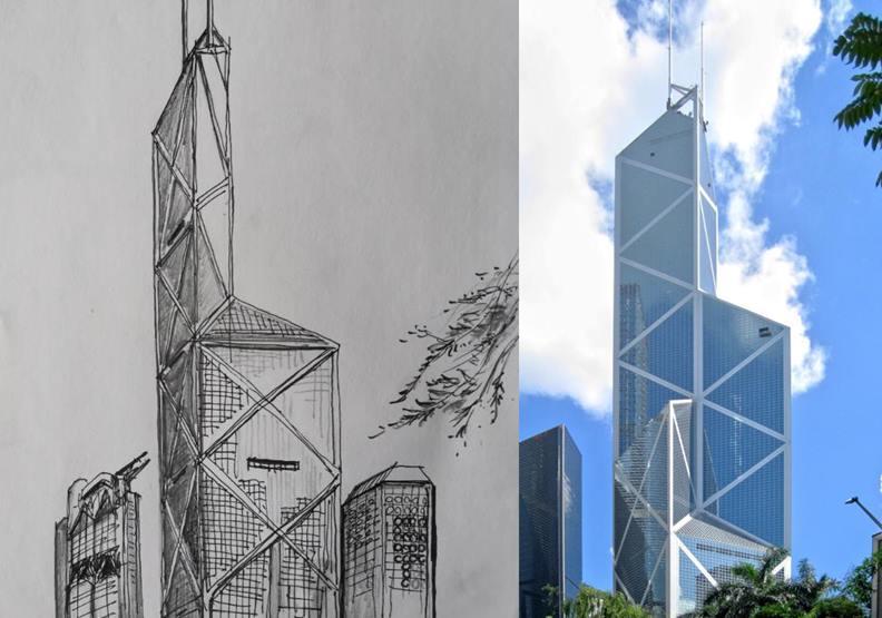 香港中銀大廈,作者手繪(左)與維基百科(右)上照片對照。