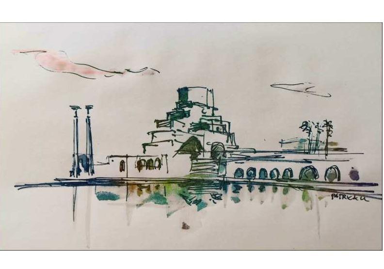 阿拉伯文化館建築外貌宛如神燈,作者手繪。