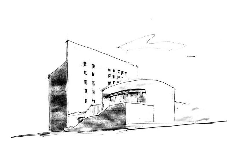 甘迺迪紀念圖書館外貌,作者手繪。