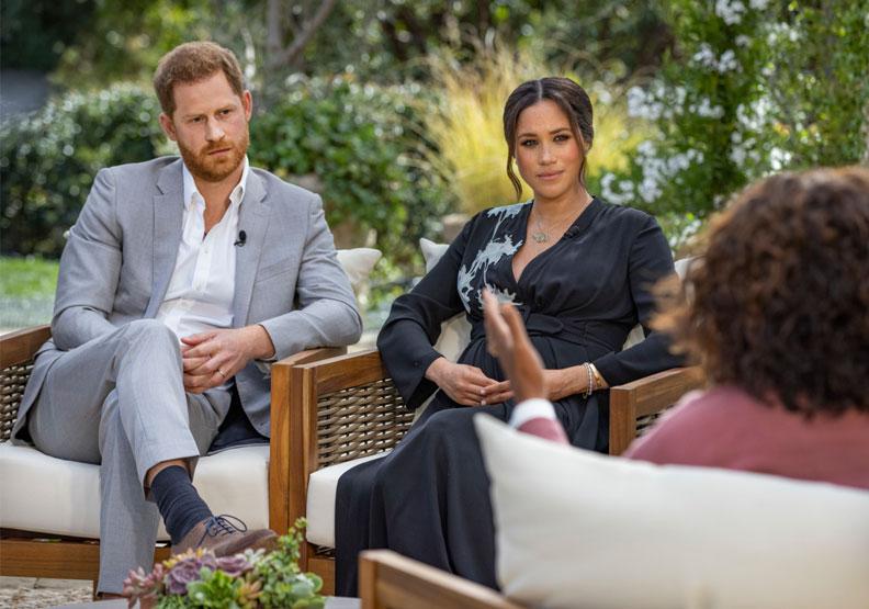哈利、梅根接受歐普拉專訪,為英國王室投下震撼彈,同時也讓哈利與哥哥威廉、父親查爾斯的關係更加難以修補。圖片來自CBS twitter