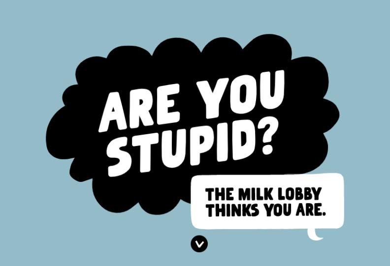 Oatly與多家植物奶業者與環保組織發起連署,劈頭就說:「你笨嗎?這些牛奶業者認為你笨。」。取自Oatly連署網頁