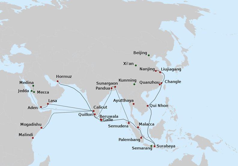 鄭和艦隊下西洋的路線。圖片來自維基百科