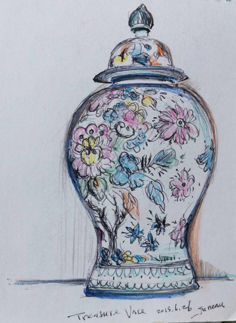 瓷瓶,作者手繪。