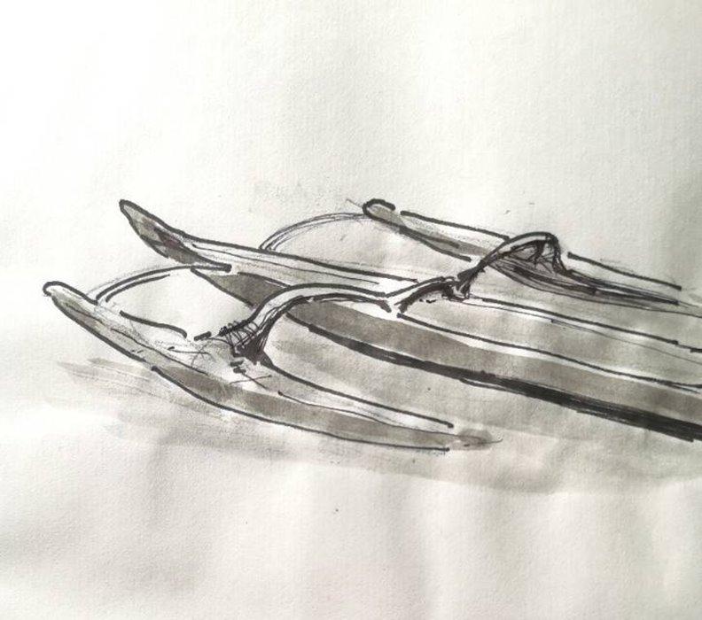 雙舟快艇,作者手繪。