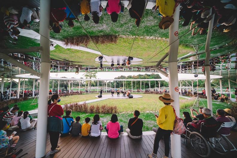 五圓之一,位於園區中心點的「秘境花園」,天花板全鏡面的反射設計,是拍照熱門景點。