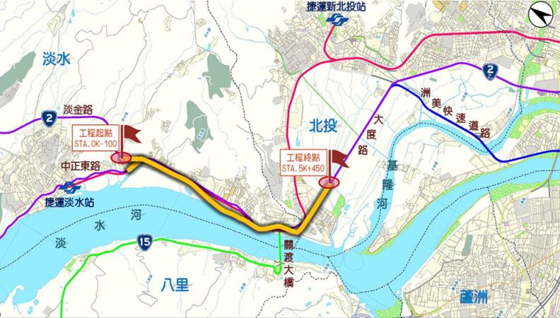 淡北道路起點為淡金路與中正東路口,終點為大度路。取自新北市政府官網。