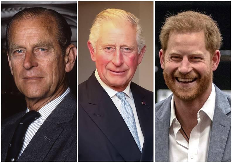 由左至右分別為菲利普、查爾斯和哈利。圖片皆來自Wiki