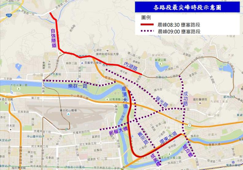 內科的壅塞時段集中在上下午通勤,圖片取自台北市交通局。