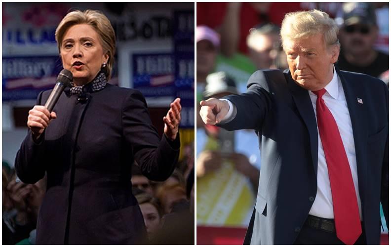 希拉蕊與川普在競選活動時的神情。圖片皆來自Wiki