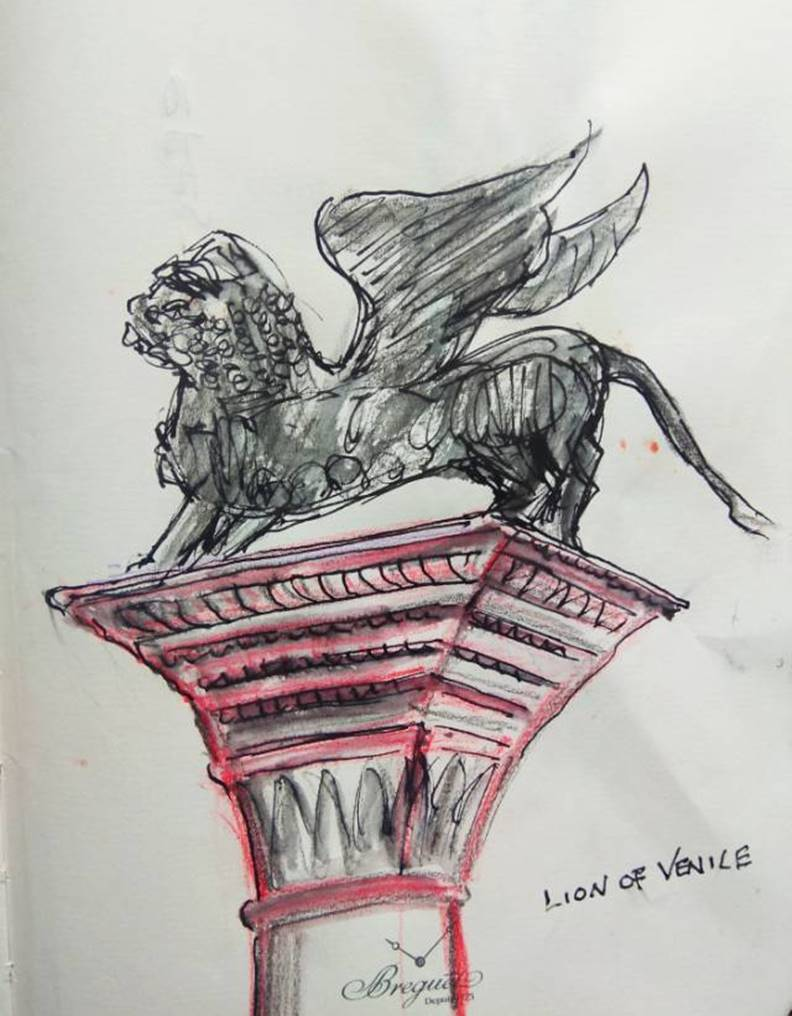 其中一支柱頭上端是代表威尼斯的飛獅,威士斯影展頒的就是金獅獎。顧小崙手繪