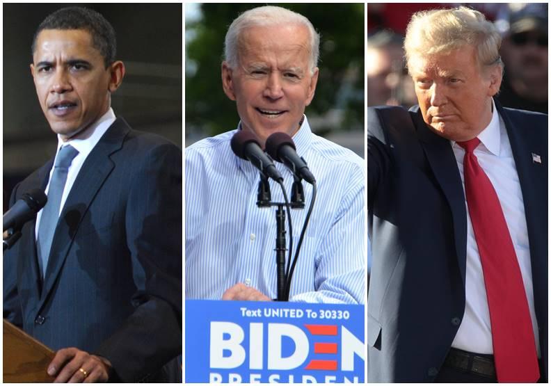 川普對歐巴馬的不屑之情,就如同拜登對川普一般。這三位美國總統,由左至右分別為歐巴馬、拜登、川普。圖片皆來自Wiki