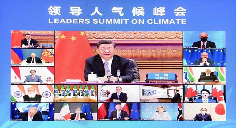 中國國家主席習近平(中)於氣候峰會上發言。