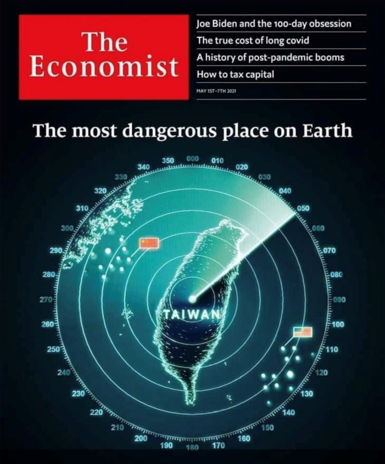 《經濟學人》封面出現台灣地圖,顯見國際相當關注台海問題。圖片來自經濟學人臉書