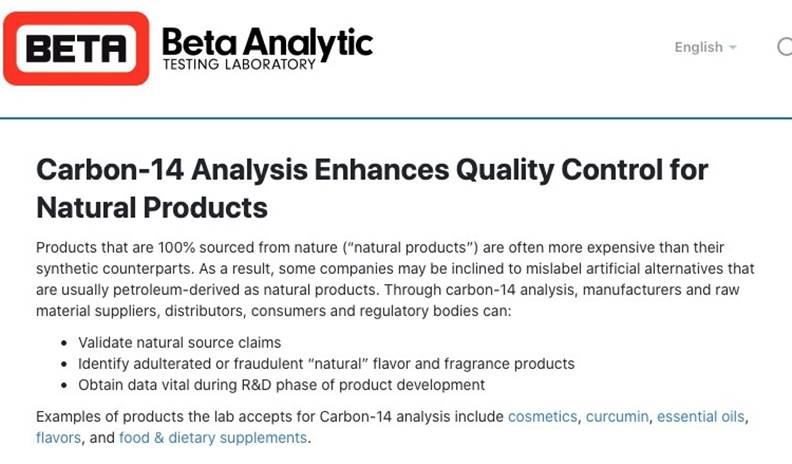 「碳14檢驗法」嚴格控管天然來源的產品品質。圖片來自Beta 實驗室官網