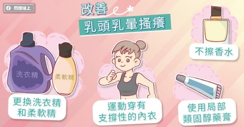 改善乳頭乳暈搔癢。取自照護線上