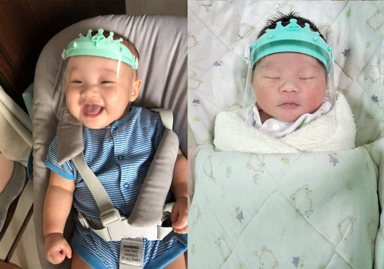 嬰兒防護面罩很受家長歡迎,嘉義市政府提供。