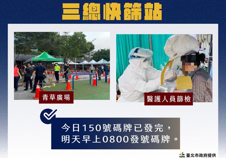 北市設立第五處青草廣場快篩制按,台北市政府提供。