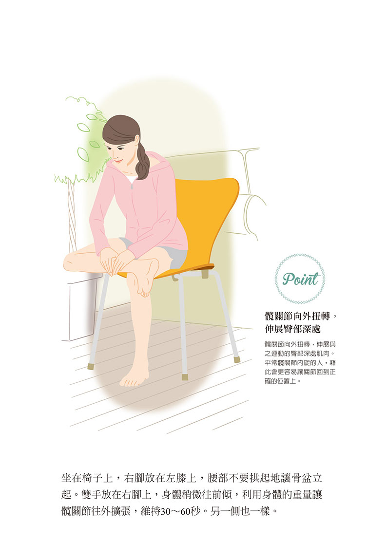 就坐的同時拉伸臀部,矯正髖關節。如何出版提供