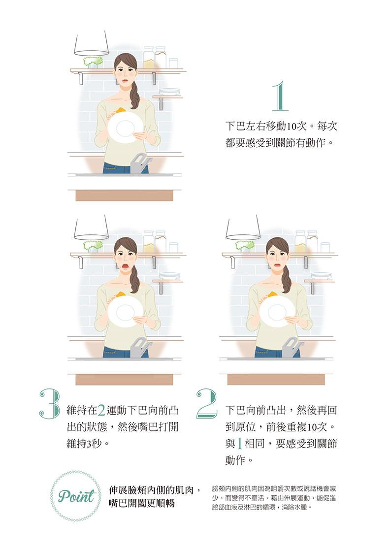 做家事時或零碎時間,勤做伸展變小臉。如何出版提供