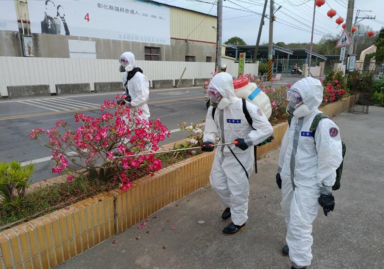 疫情爆發後,彰化進行全縣大消毒,彰化縣政府提供。