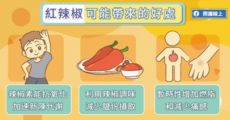 紅辣椒可能帶來的好處。取自照護線上