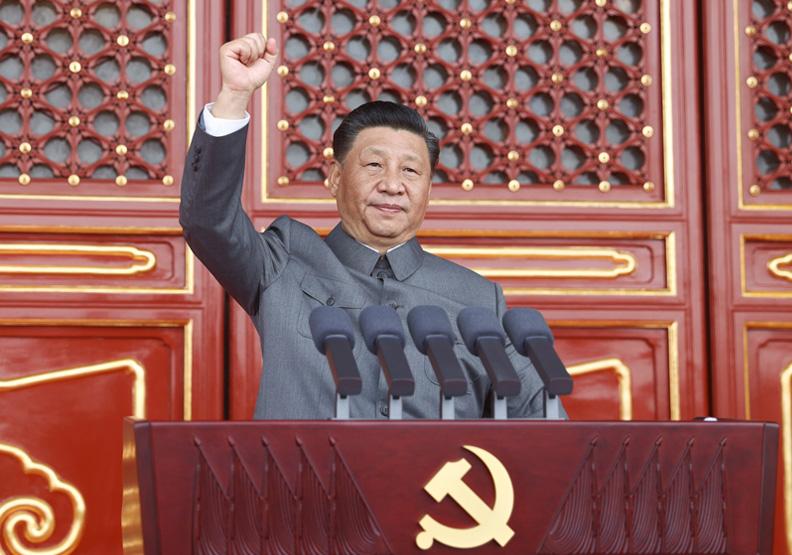 習近平在中共百年黨慶發表演說時的神情。圖片來自中華人民共和國中央人民政府官網