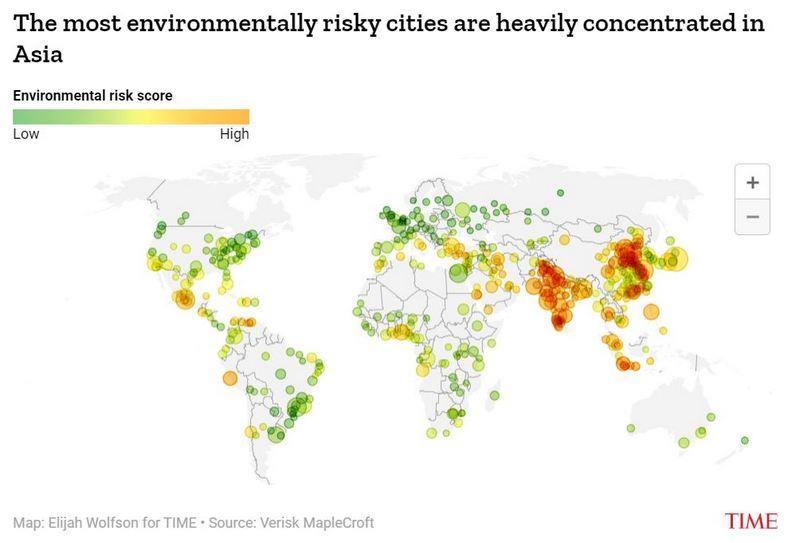 全球最受環境威脅的城市,幾乎全部被亞洲包辦。Time