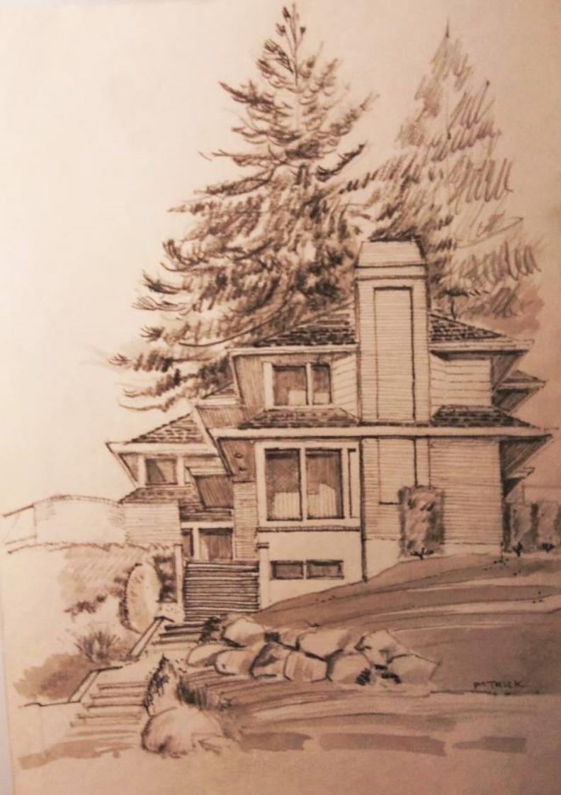 山居一戶隱在西溫大英物業區的蒼松翠柏間。顧小崙手繪圖