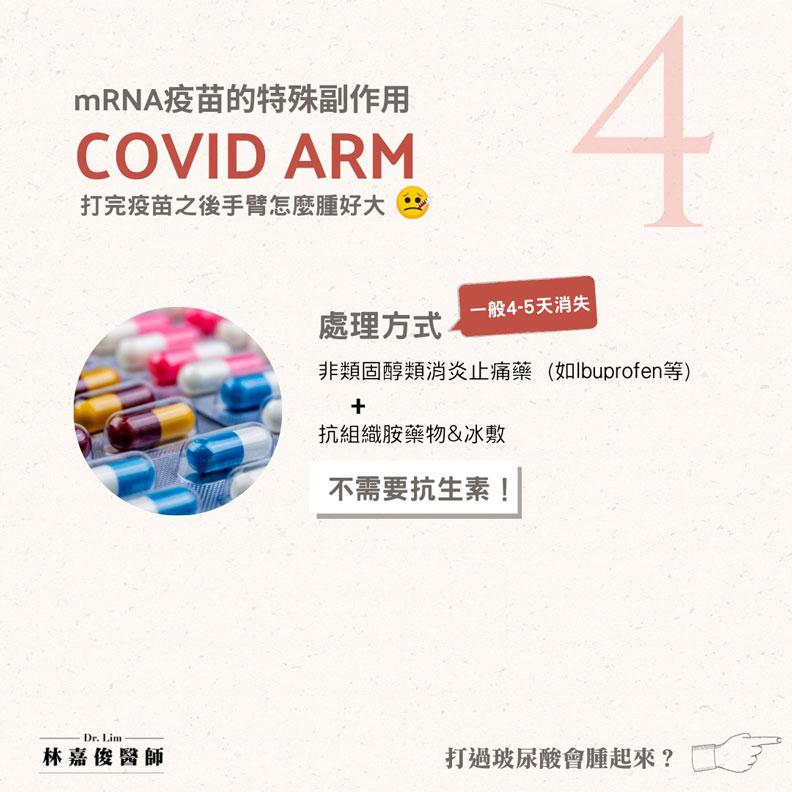 如何處理莫德納手臂(COVID Arm)。林嘉俊醫師提供