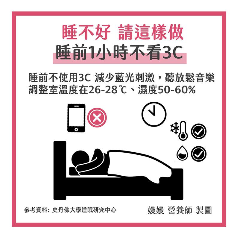 睡前1小時不看3C。嫚嫚營養師提供