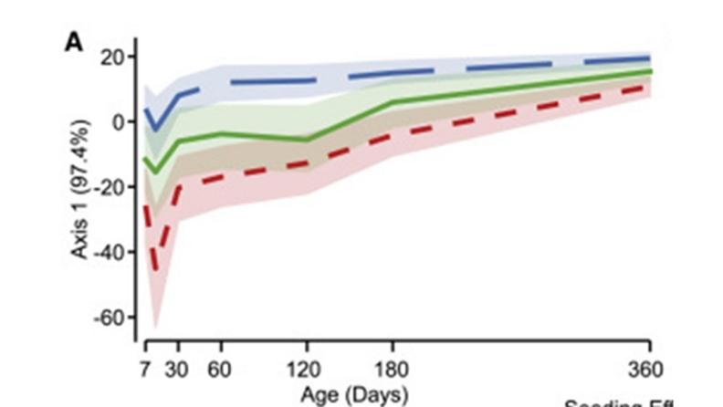 三組嬰兒在一年內,腸道細菌種類多樣性的變化比較線形圖,藍線為自然產(N=98),綠線為剖腹產加上陰道液紮拭(N=30),紅線為單純剖腹產(N=49)。作者提供