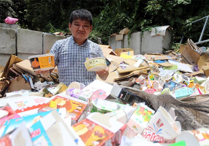 新北市的久泰資源回收中心老闆吳基正。張智傑攝