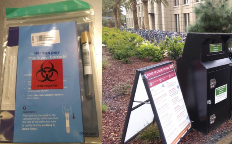 史丹福的自主篩檢包與樣本回收箱。圖片由蔡易霖提供