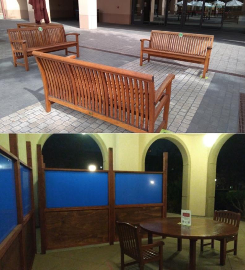 史丹福校園內公園椅與戶外用餐區的防疫空間規劃。圖片由蔡易霖提供