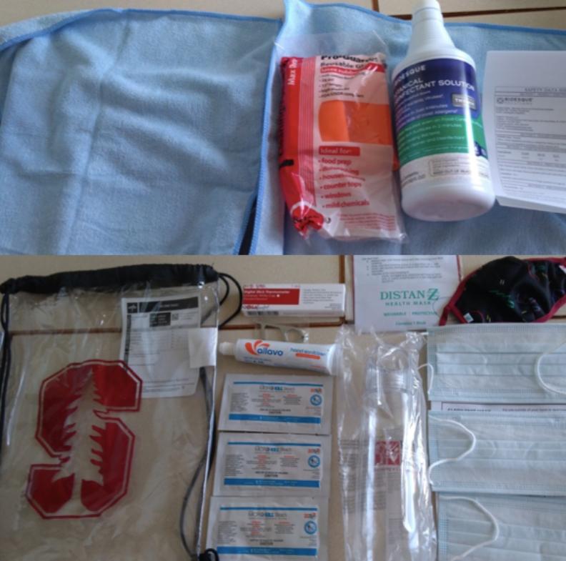 史丹福大學發送給學生的防疫包。圖片由蔡易霖提供