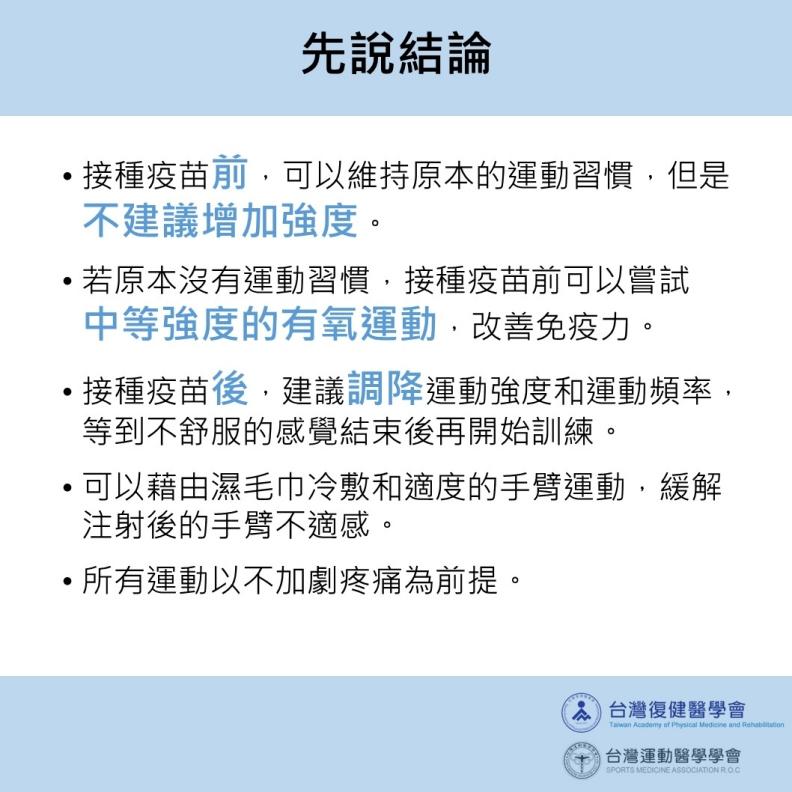 先說結論。台灣運動醫學學會提供