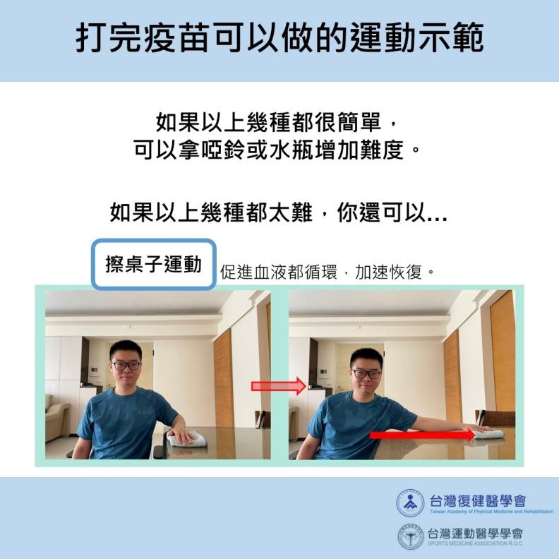 打完疫苗可以做的運動示範。台灣運動醫學學會提供