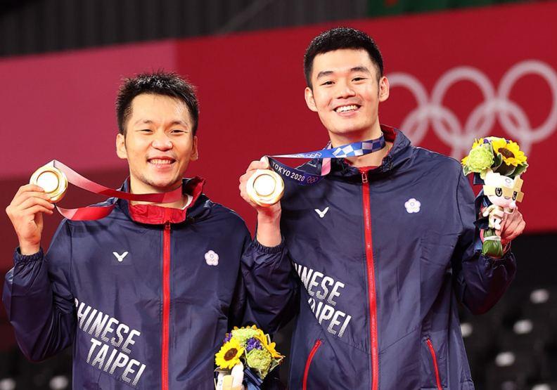 台灣羽球男子雙打李洋、王齊麟奪得東京奧運金牌。圖片來自體育署官網