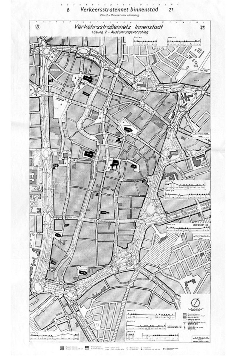 將填平運河的環狀快速道路計畫圖,取自Max E. Feuchtinger, Verkeersplan Utrecht (Ulm: S.N., 1958), 95。
