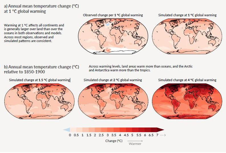 地球升溫情境模擬,從升高1度到4度情況差異。擷取自IPCC報告