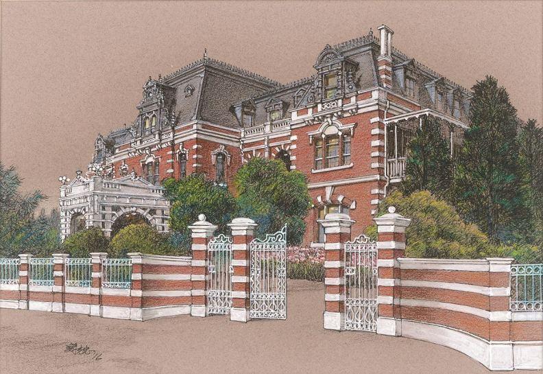 畫家游志忠老師筆下所繪之鐵道旅館,精緻輝煌。(圖片提供/力麗基金會BACK TO 1919)