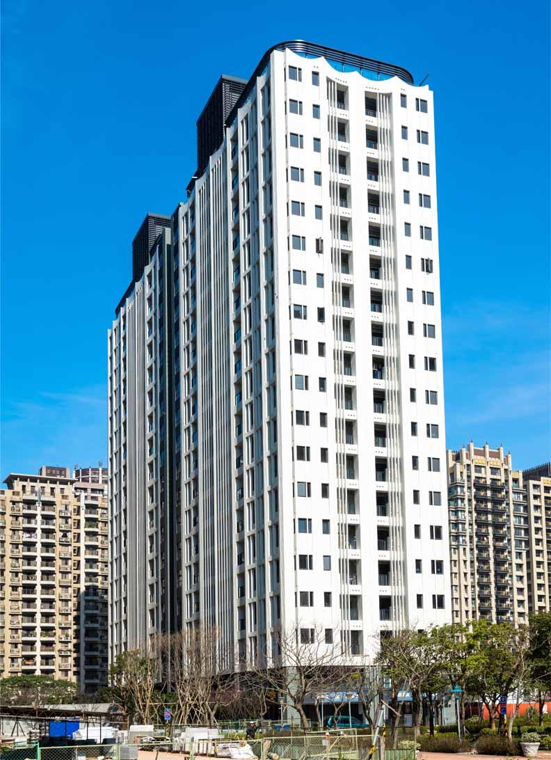 聯虹天耀林口建案完工照,為日本知名建築師團紀彥之作品,聯虹建設股份有限公司提供。