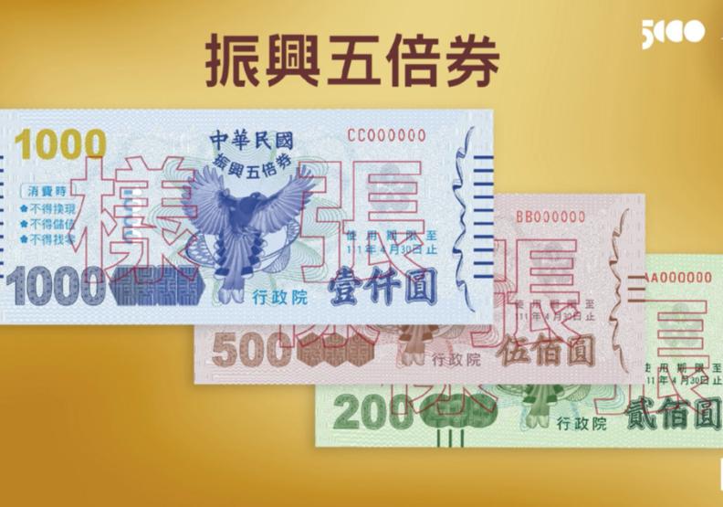 五倍券數位、紙本面額格式。行政院提供。